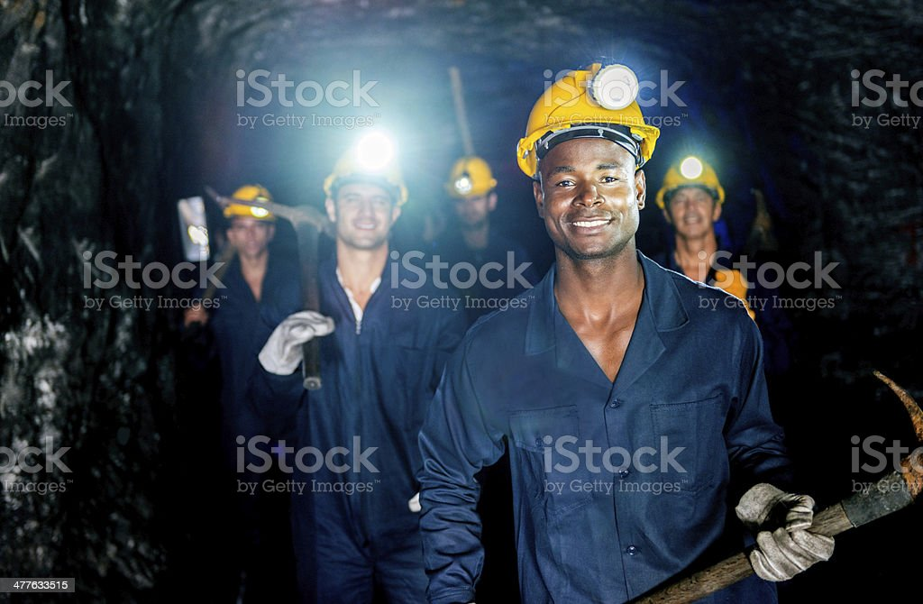 Group of miners stock photo