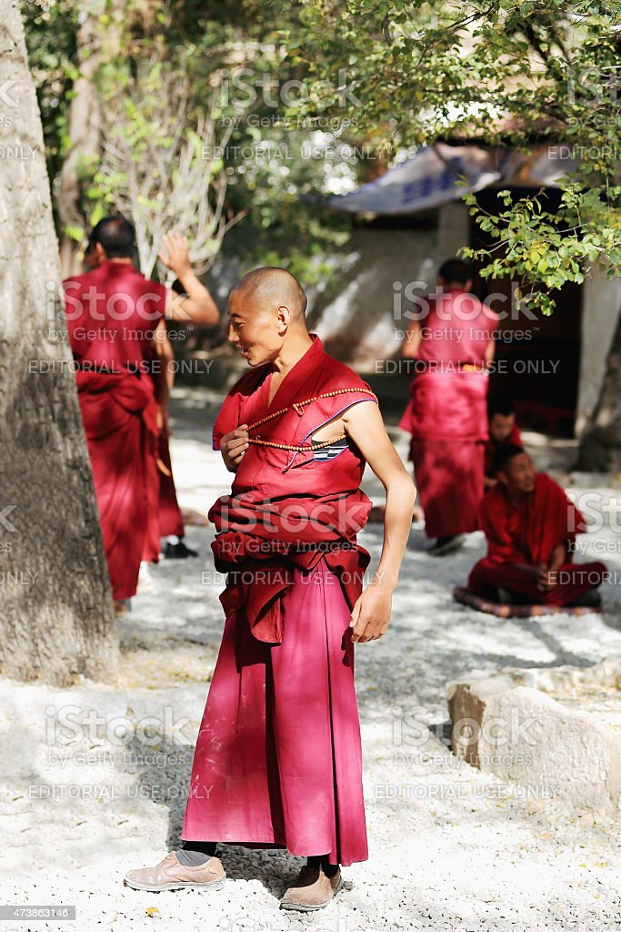 Group of monks at debate in the Sera monastery-Tibet. 1290 stock photo