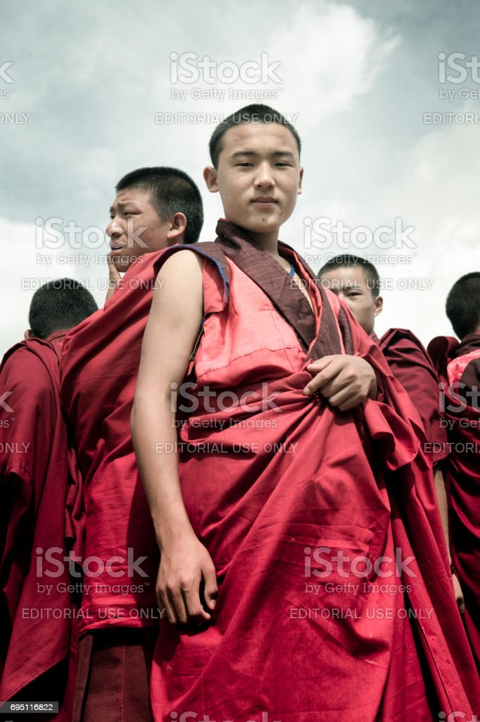 Group of monks stock photo