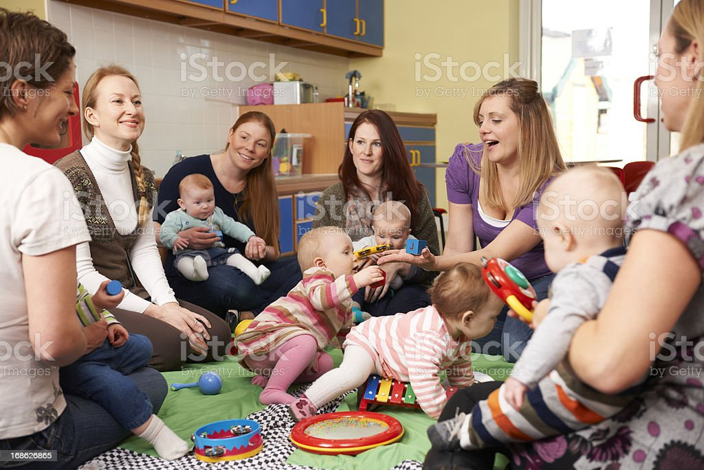 Group Of Mothers With Babies At Playgroup royalty-free stock photo