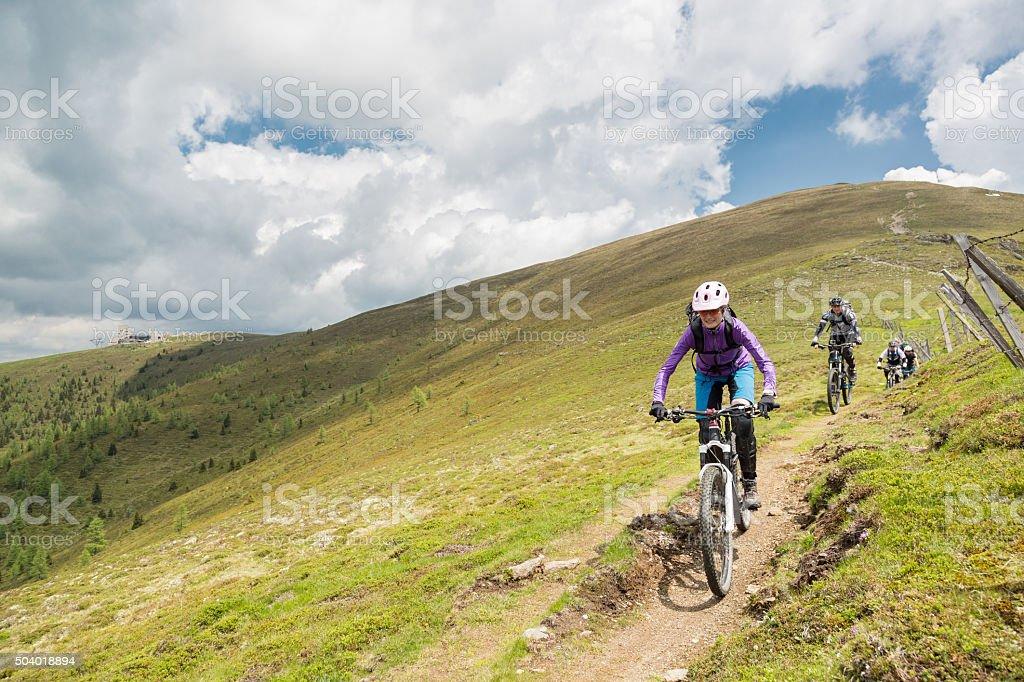 Group of mountainbiker at Carinthian pastures, Austria stock photo