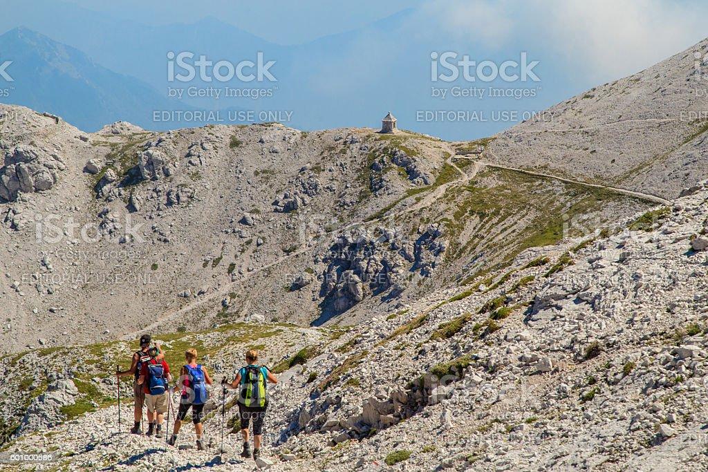 Group of mountaineers walking on the mountain Peski stock photo