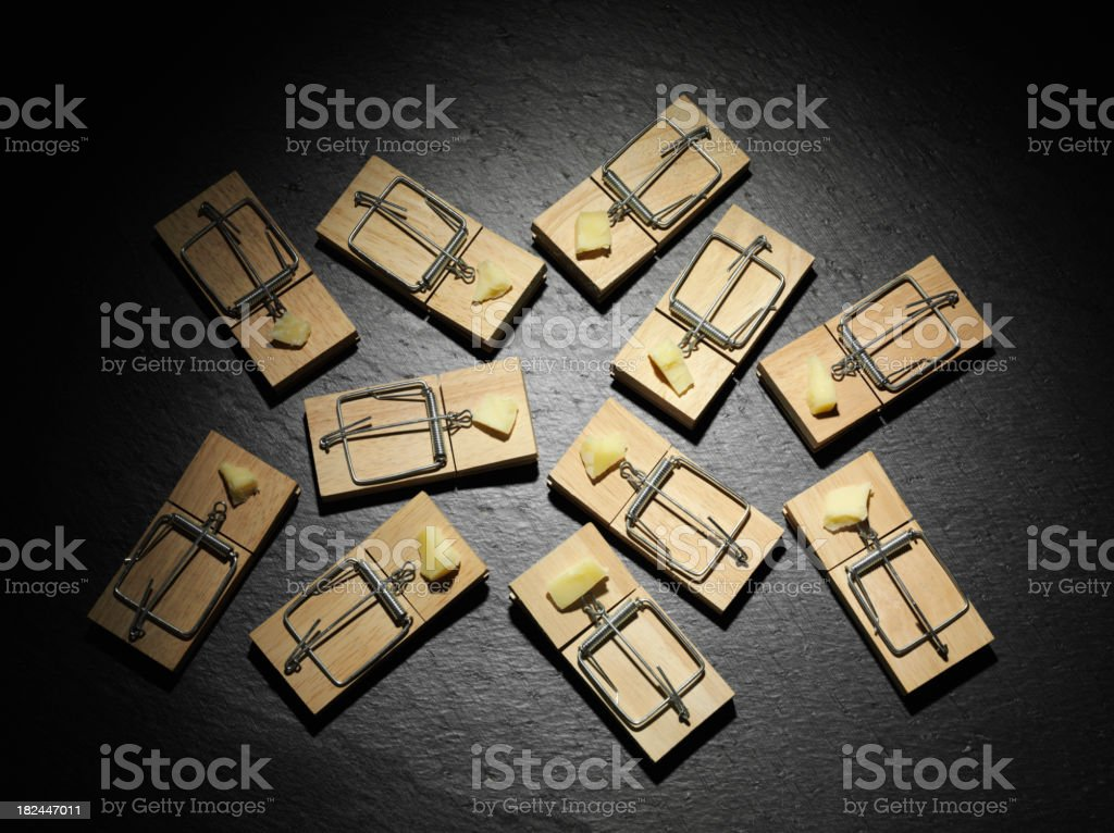 Group of Mousetraps with Cheese stock photo