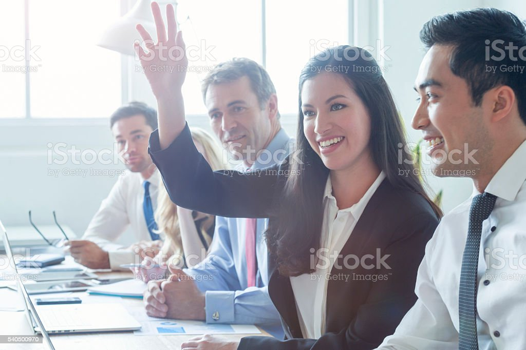 Group of multi ethnic business people smiling. stock photo