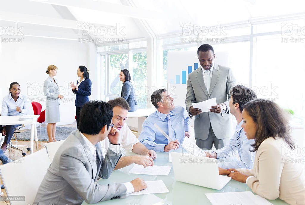 Group of Multi Ethnic Corporate People having a Business Meeting stock photo