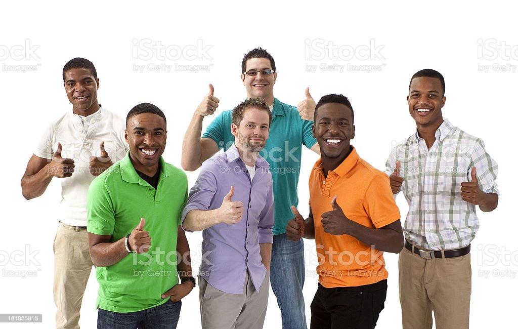 Group of multi ethnic guys on white background royalty-free stock photo