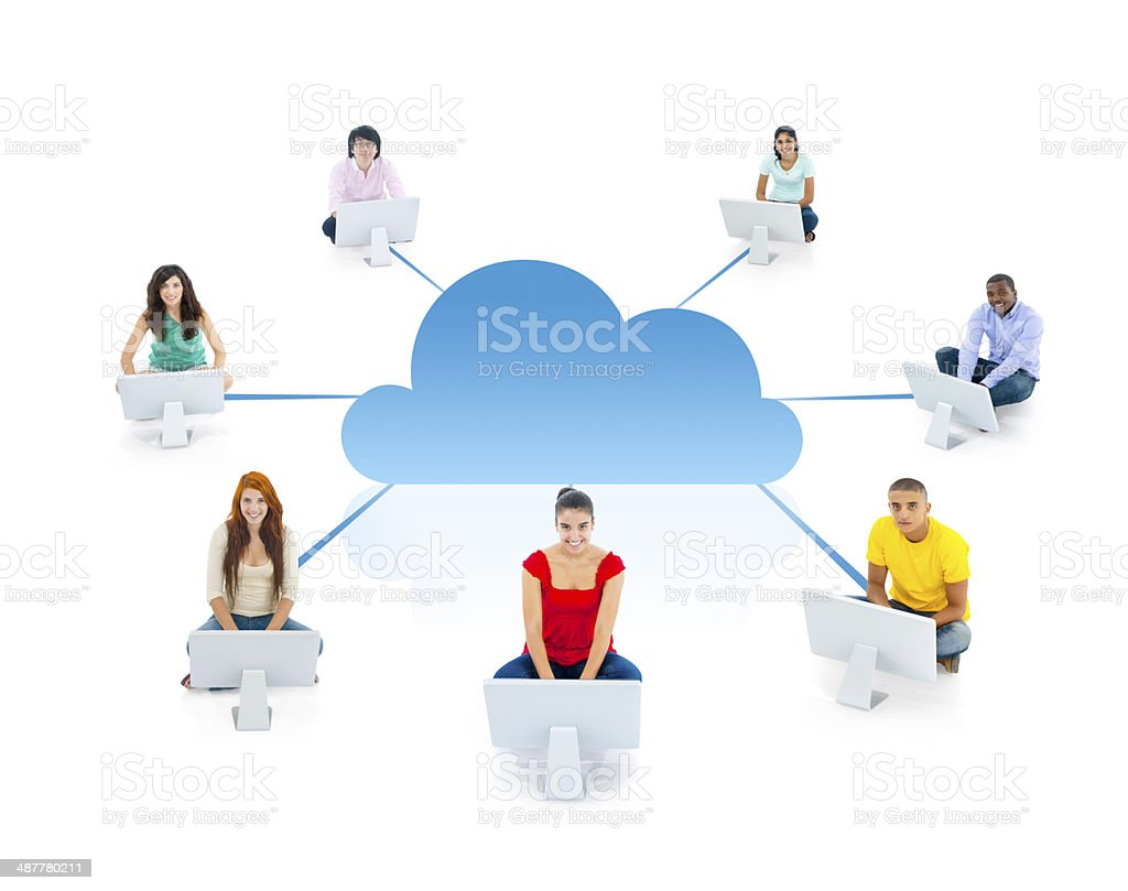 Group of Multi Ethnic People Socially Connected stock photo