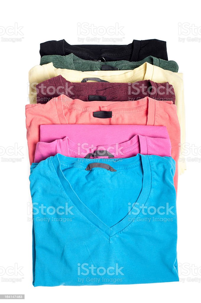 Group of multicolored t-shirts royalty-free stock photo
