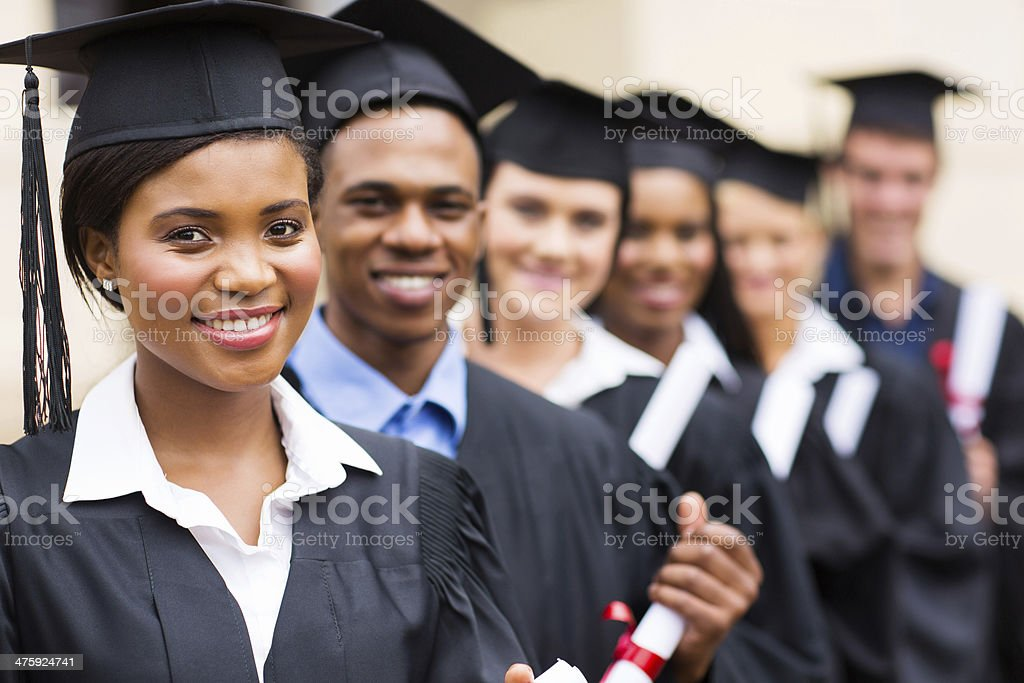 group of multicultural university graduates stock photo