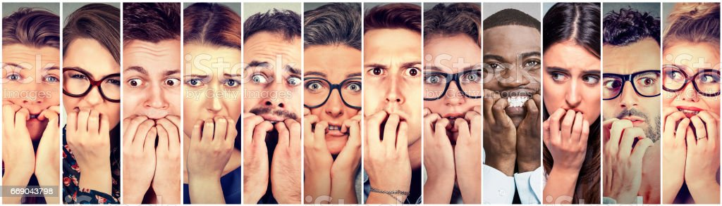 Group of multiethnic anxious people men and women stock photo