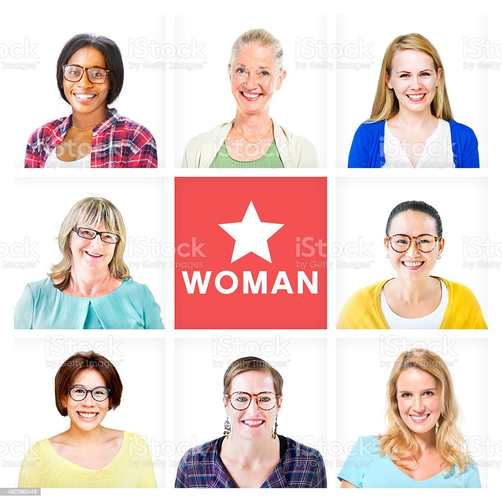 Group of Multiethnic Cheerful Beautiful Women stock photo