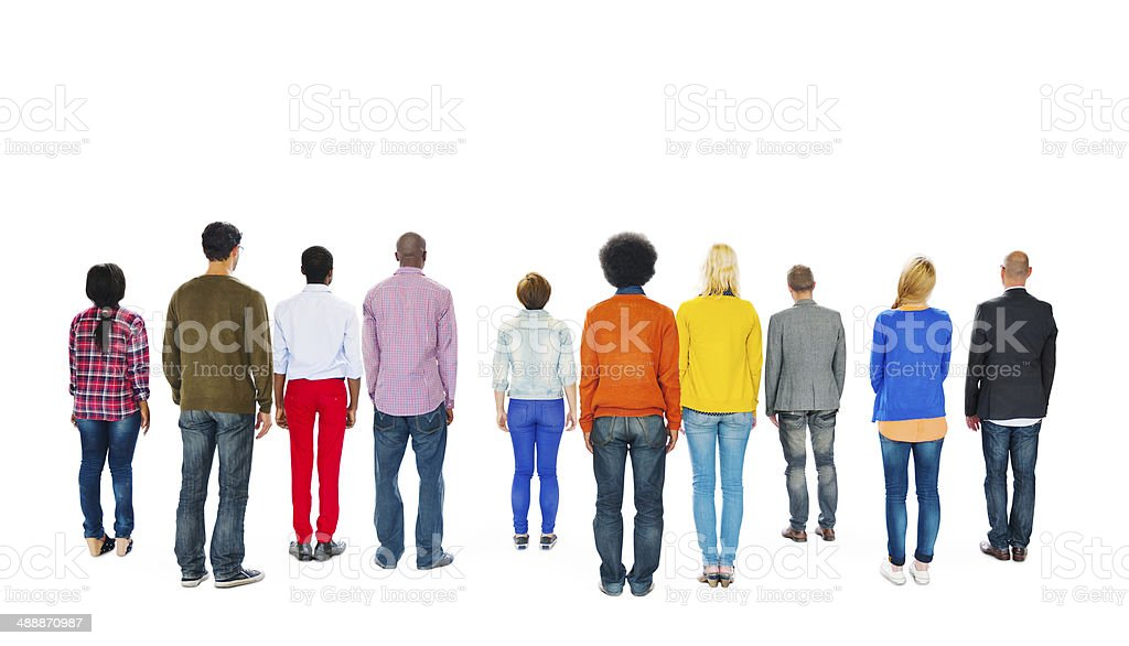 Group of Multiethnic Colourful People Facing Backwards stock photo