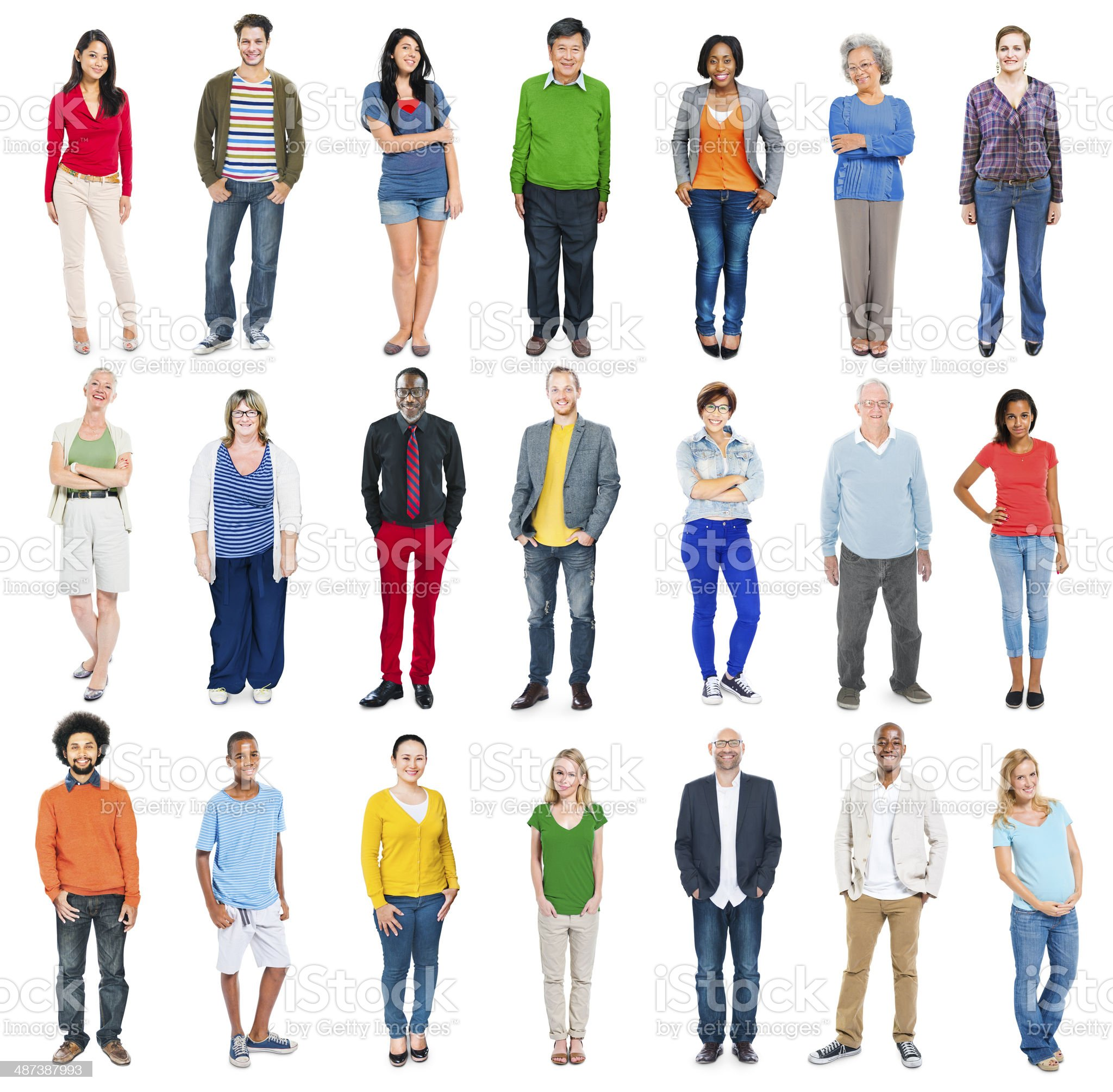 Group of Multiethnic Diverse Colorful People royalty-free stock photo