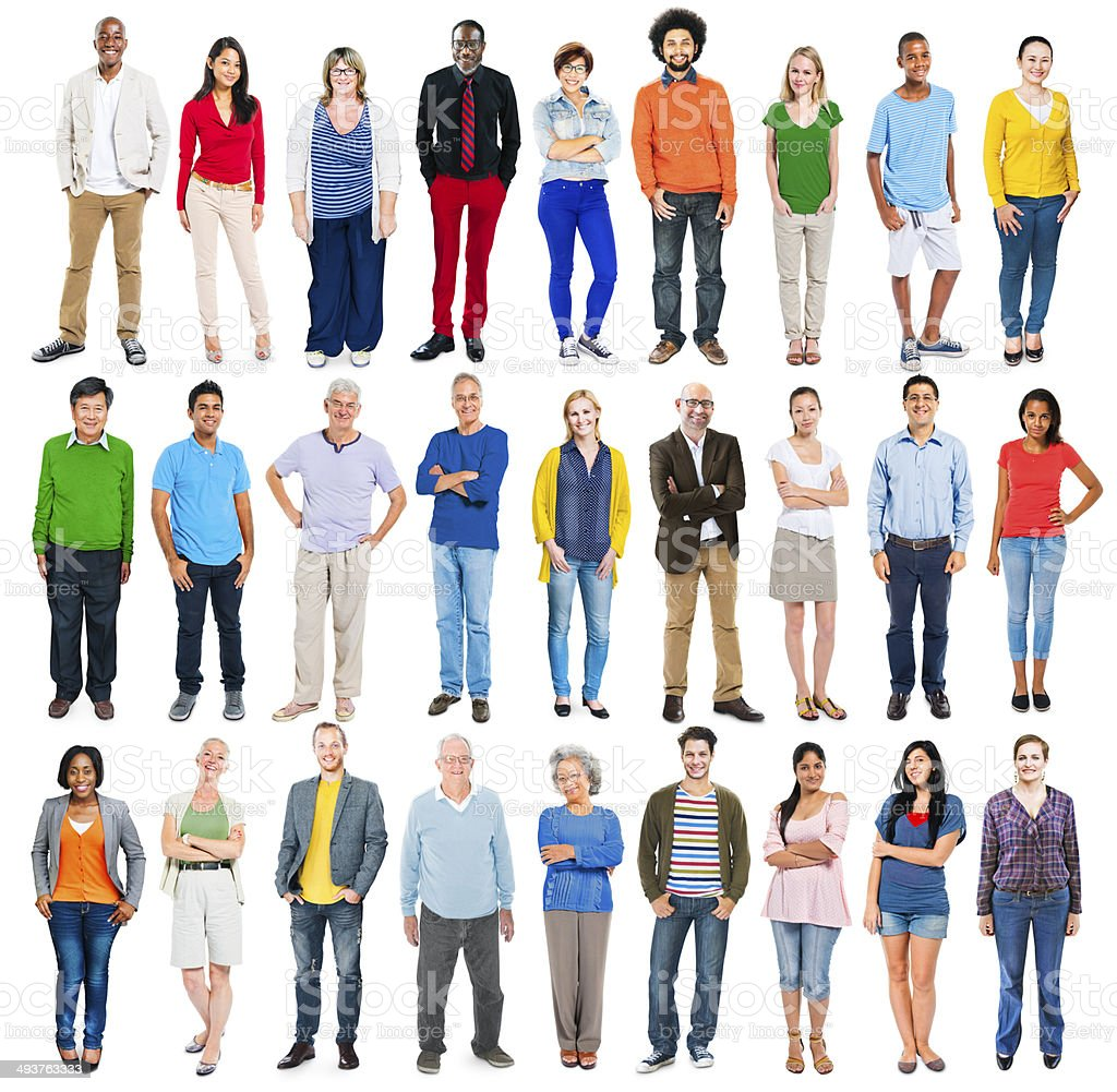 Group of Multiethnic Diverse Colourful People stock photo