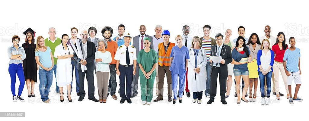 Group of Multiethnic Diverse Mixed Occupation People stock photo