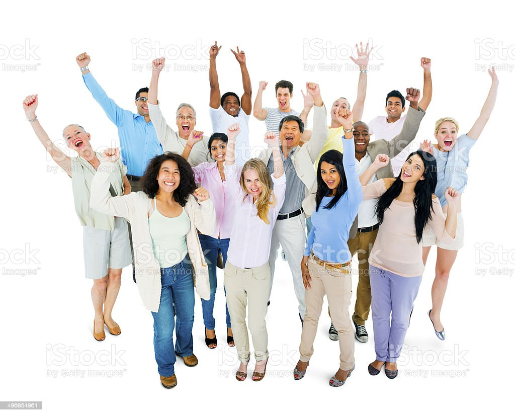 Group of Multiethnic Diverse People Celebrating stock photo
