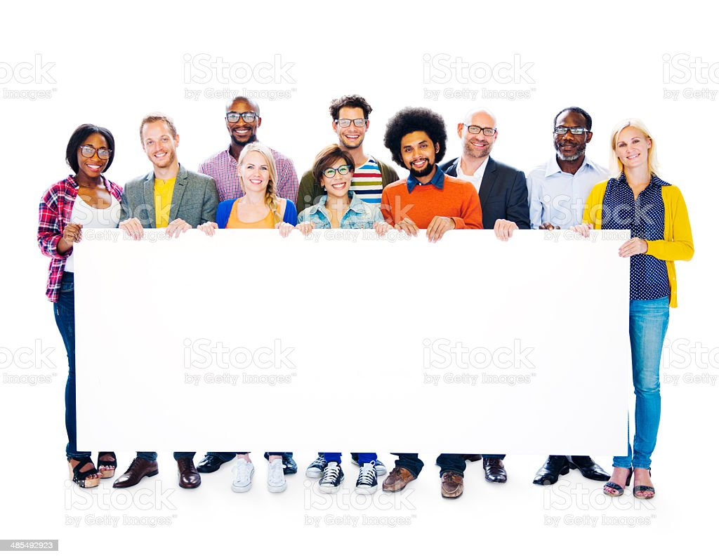 Group Of Multi-Ethnic Group Of People Holding Blank Billboard To stock photo