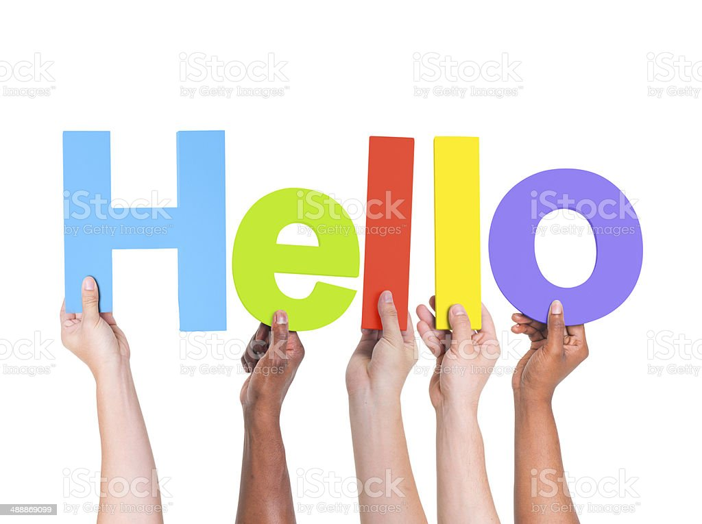Group of Multiethnic Hands Holding Word Hello stock photo