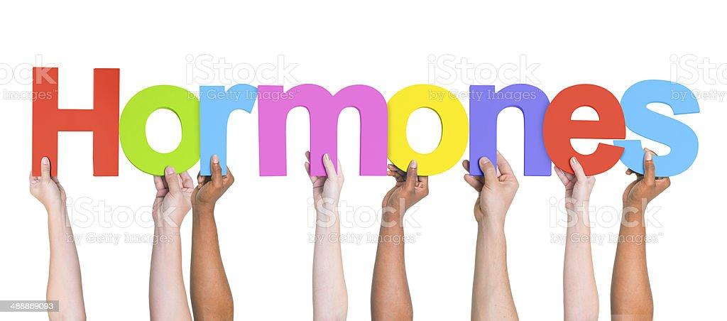 Group of Multiethnic Hands Holding Word Hormones stock photo