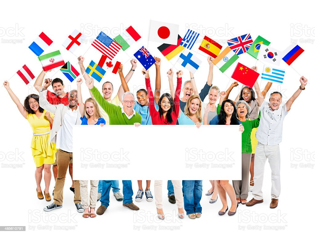 Group of Multi-Ethnic People Celebrating While Holding Flags And Placard. stock photo
