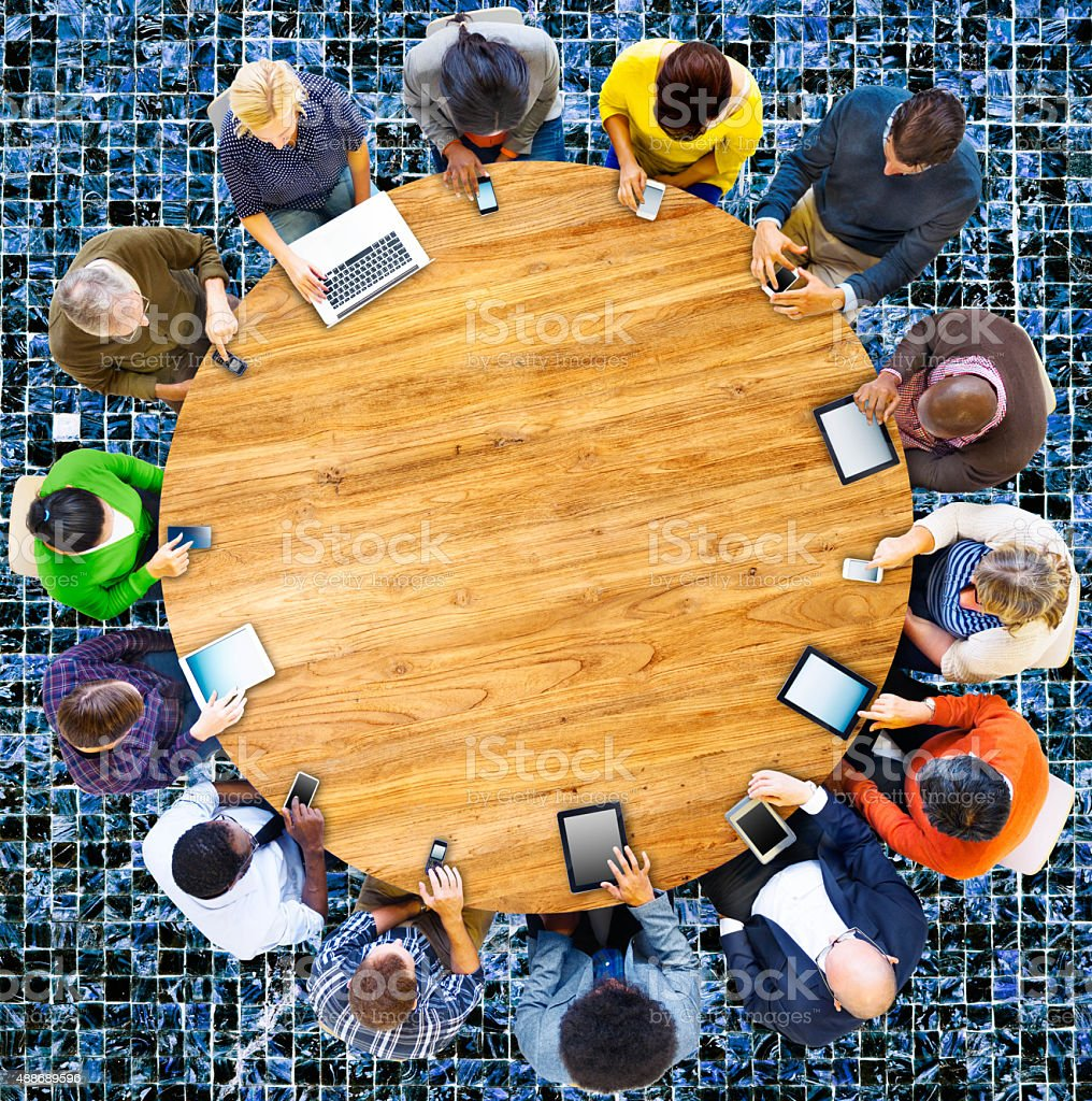 Group of Multiethnic People Connected Digital Devices Concept stock photo