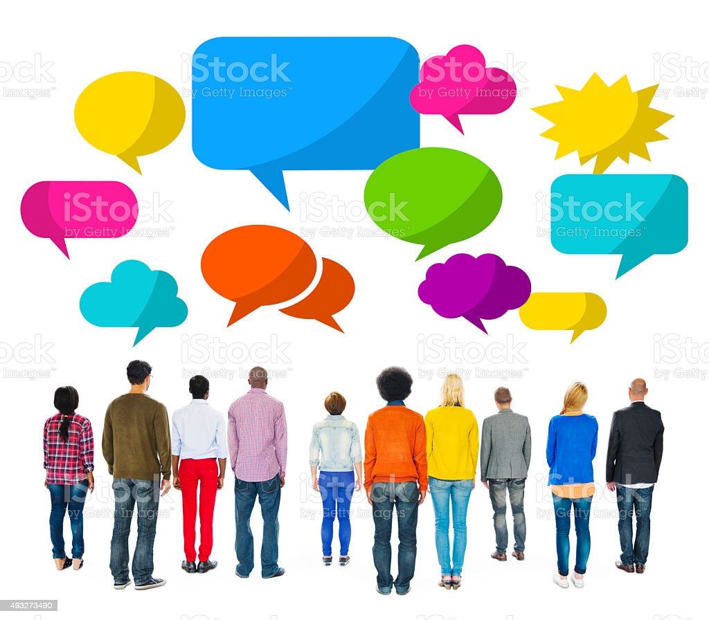 Group of Multiethnic People Facing Backwards with Speech Bubbles stock photo