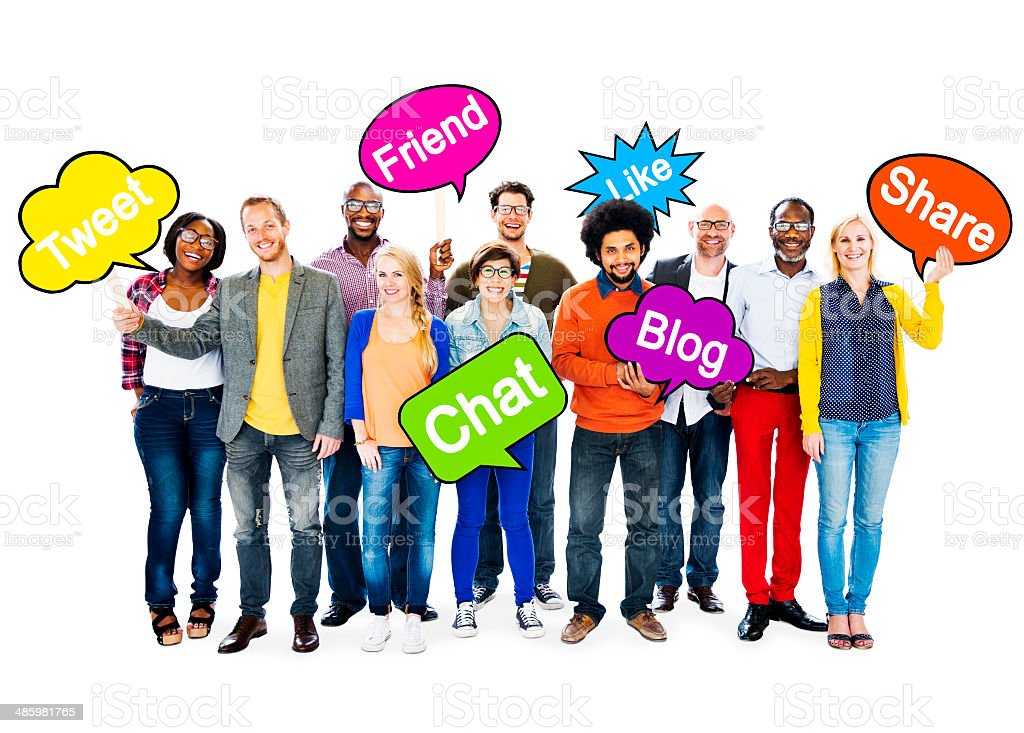 Group Of Multi-Ethnic People Holding Speech Bubbles With Words R stock photo