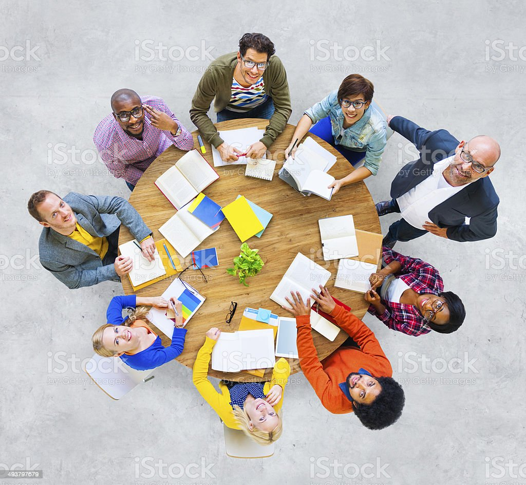 Group of Multiethnic People Looking Up royalty-free stock photo