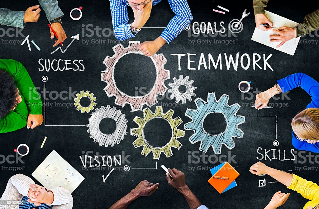 Group of Multiethnic People Studying About Teamwork stock photo