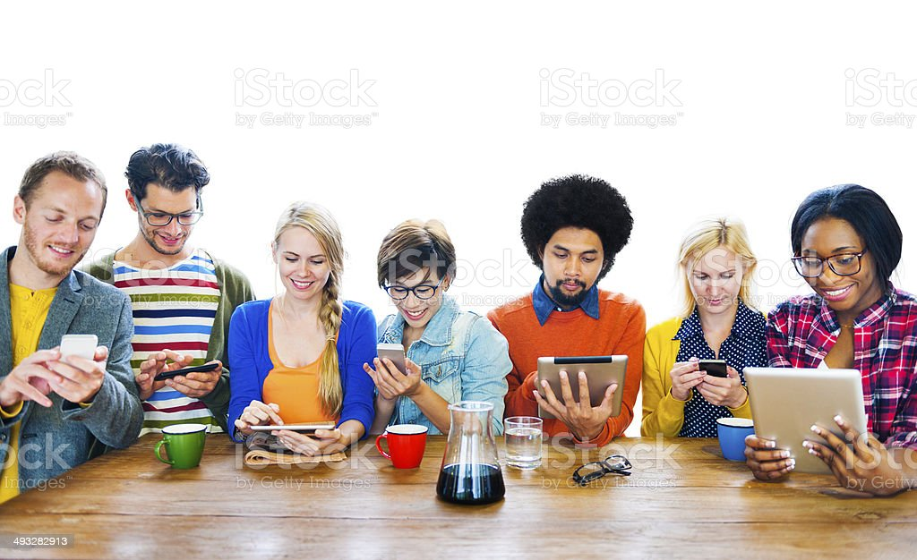 Group of Multiethnic People Using Digital Devices stock photo