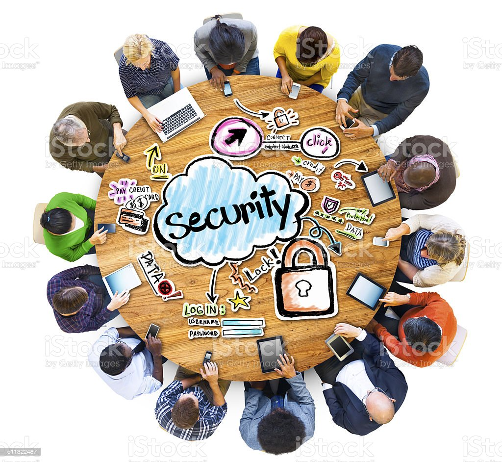 Group of Multiethnic People with Security Concept stock photo