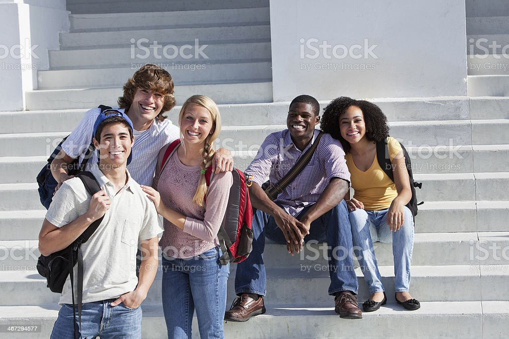 Group of multi-ethnic students stock photo