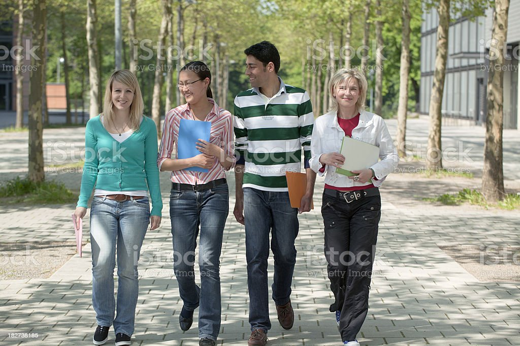 Group of multi-ethnic students walking on treelined footpath (XXXL) royalty-free stock photo