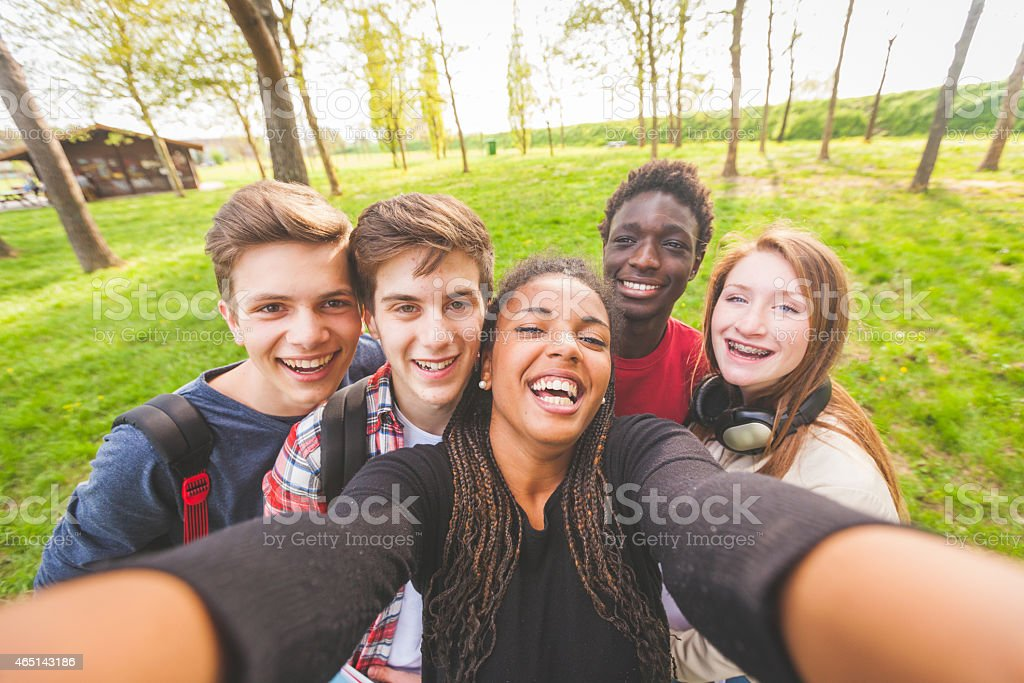 Group of multiethnic teenagers taking a selfie at park stock photo