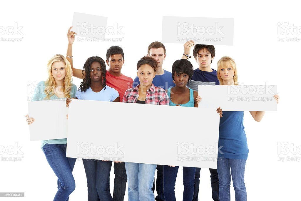 Group of multi-ethnic young people holding blank billboards stock photo