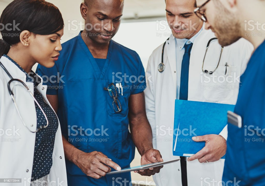 Group of multiracial doctors stock photo