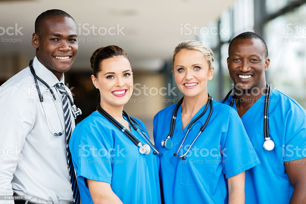 group of multiracial medical team stock photo