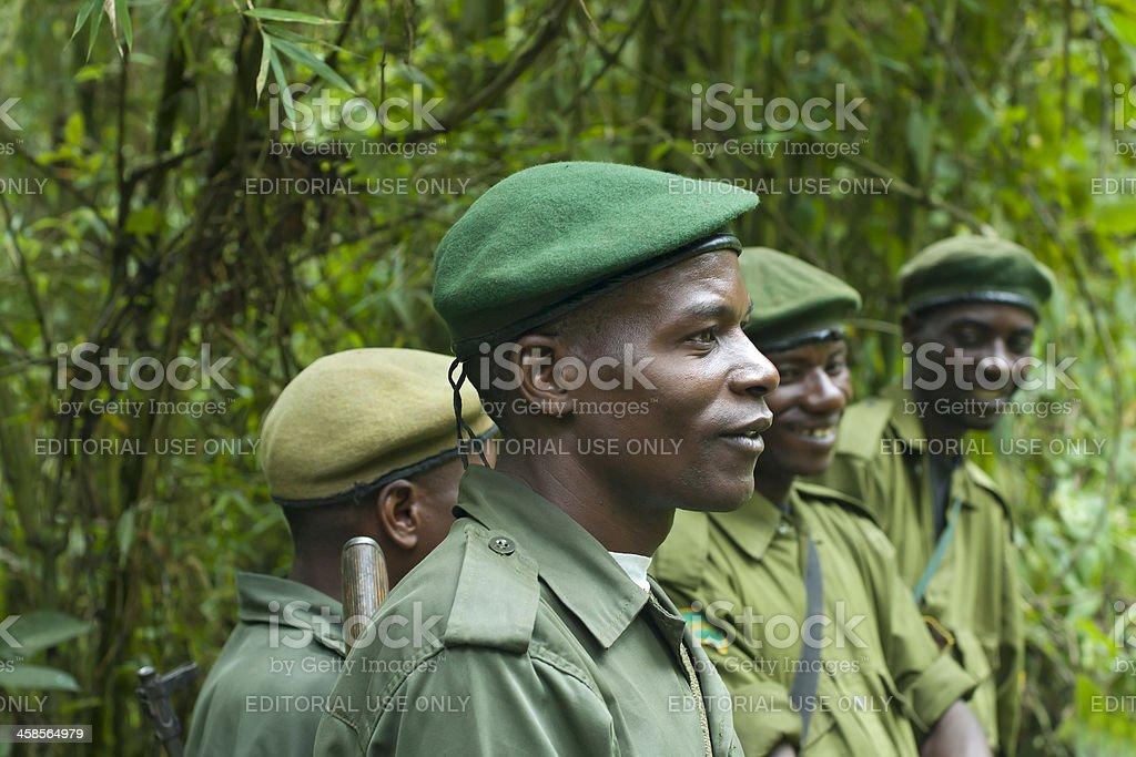 Group of National Park Rangers, Kahuzi Biega, South Kivu, Congo stock photo