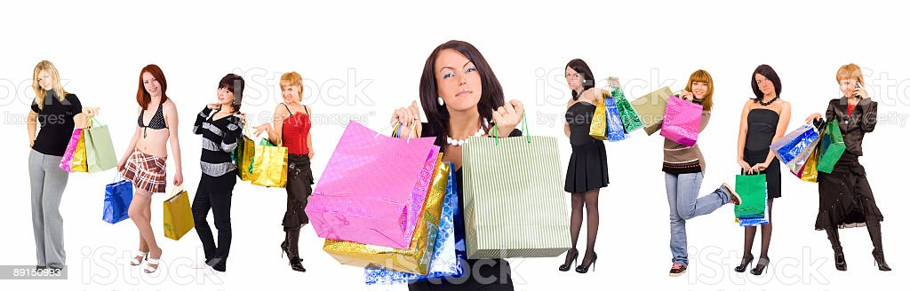 group of nine shopping girls with gorgeous one at front royalty-free stock photo