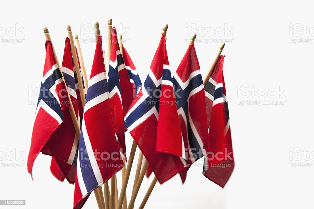 Group of Norwegian flags in red white and blue. stock photo