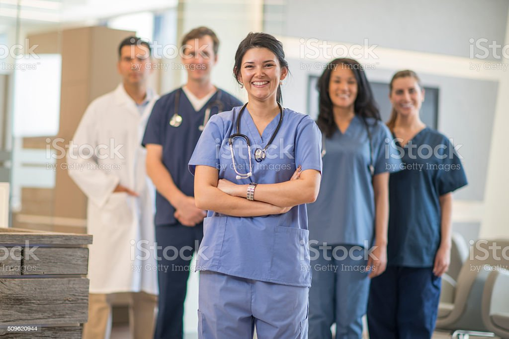 Group of Nurses at the Clinic stock photo
