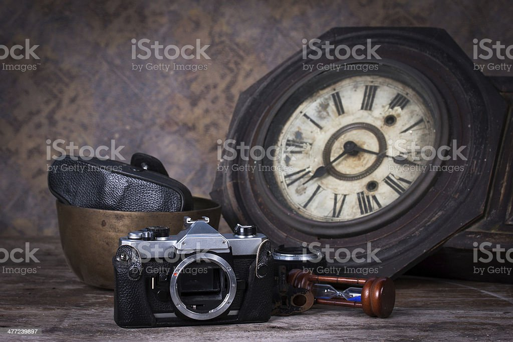 Group of objects on wood table,Still life royalty-free stock photo