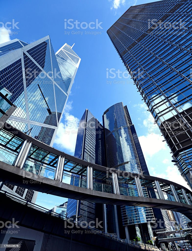group of office buildings in Hong Kong royalty-free stock photo