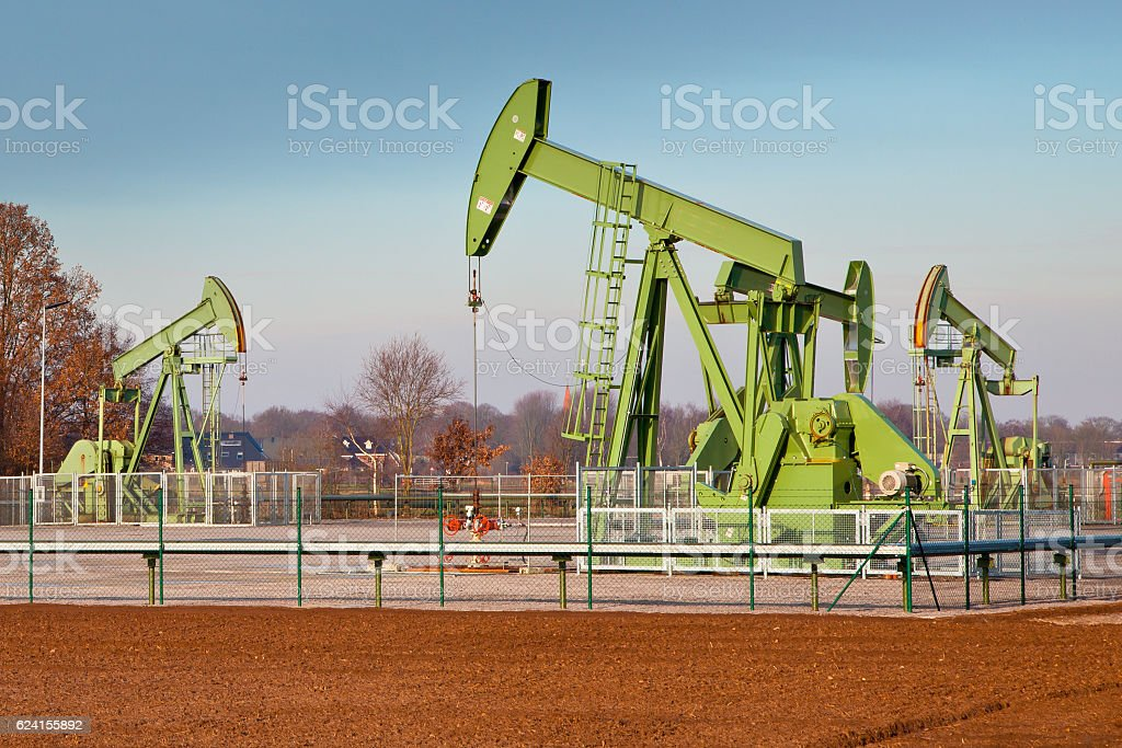 Group of Oil Pump Jacks stock photo
