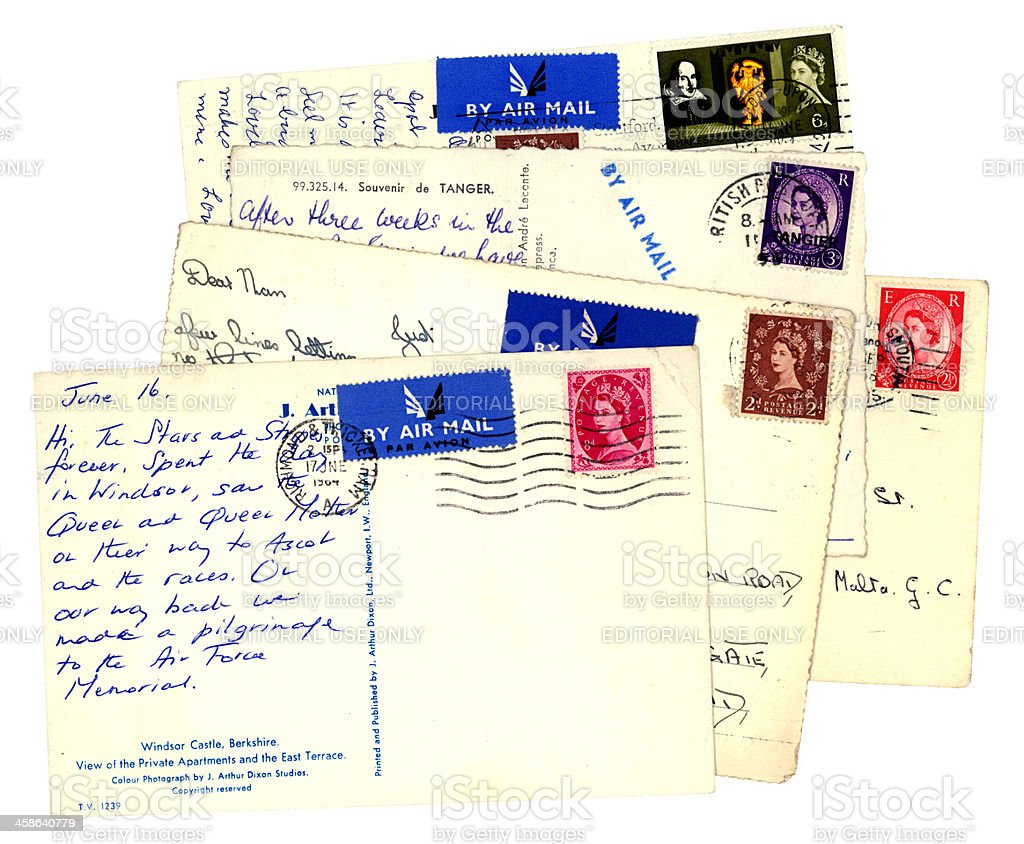 Group of old British airmail postcards royalty-free stock photo