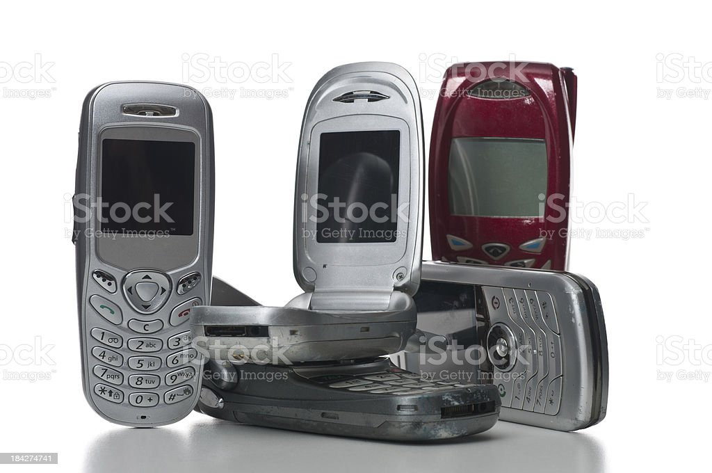 group of old cellphones stock photo