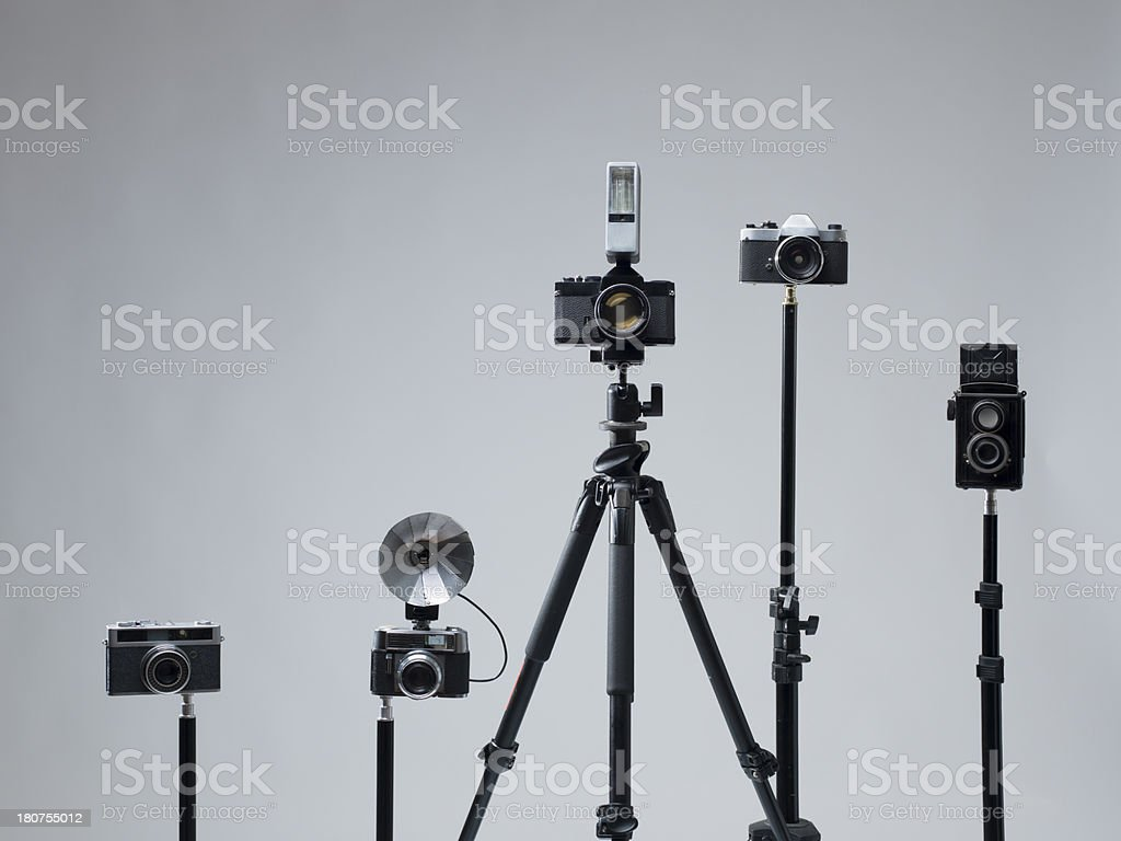 Group of old fashioned photography film cameras royalty-free stock photo
