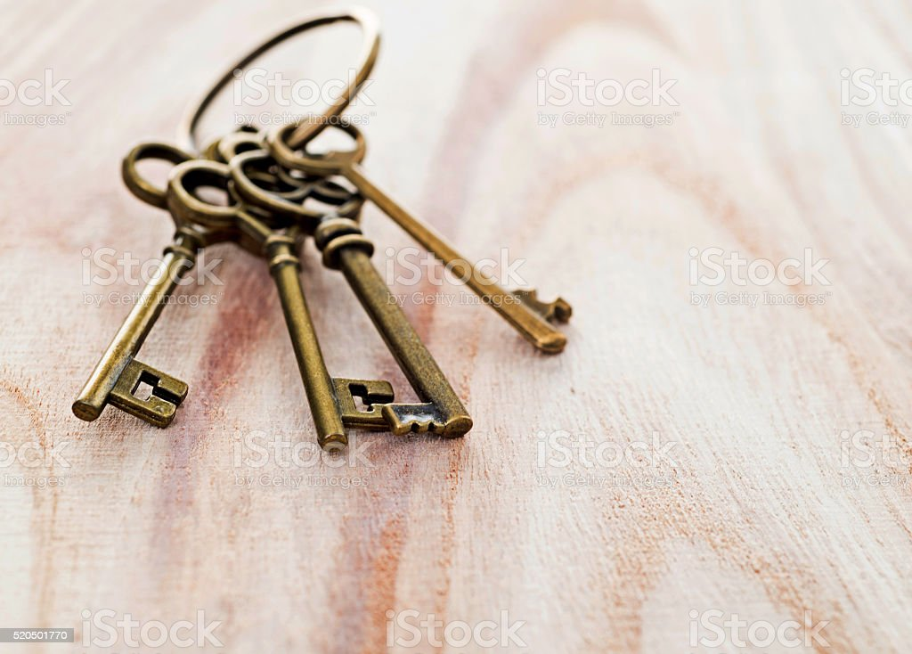 Group of old keys stock photo