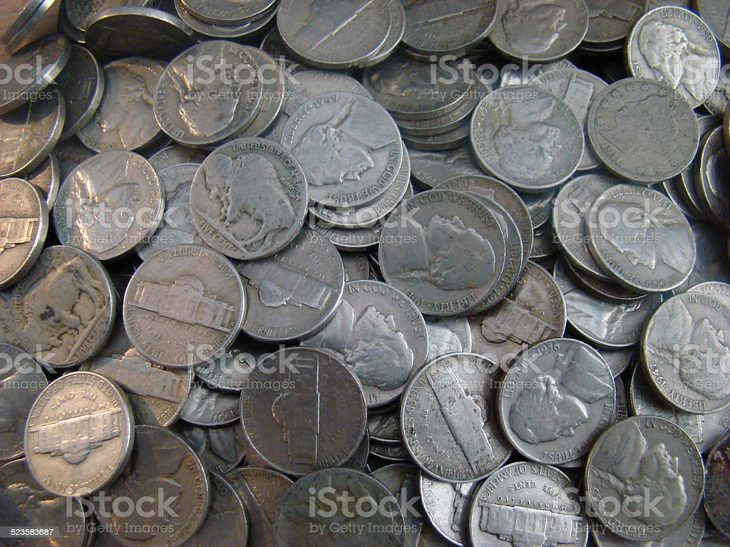 Group of old United states nickels stock photo