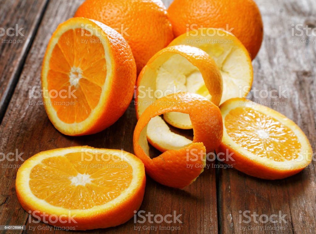 Group of oranges on a wooden table stock photo